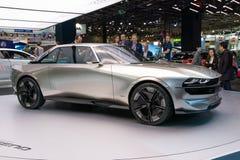 Peugeot e-Legend retro autonomous concept car. PARIS - OCT 2, 2018: Peugeot e-Legend retro autonomous concept car reveiled at the Paris Motor Show stock photos