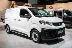 Peugeot Expert commercial cooling vehicle. BRUSSELS - JAN 18, 2019: Peugeot Expert commercial cooling vehicle showcased at the 97th Brussels Motor Show 2019 royalty free stock image