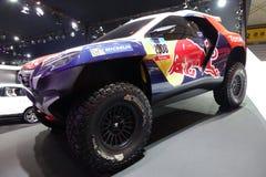 PEUGEOT FINANCE 2008 DKR. Car in  Motor Show Stock Image