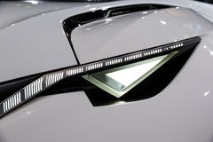 Peugeot Fractal car headlight close up Stock Photo