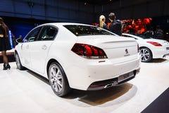 Peugeot 508, Genève 2015 för motorisk show Arkivbild