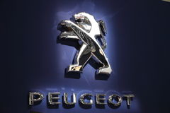Peugeot Lion Company Logo. LEIPZIG, GERMANY - JUNE 1: Peugeot Lion Company Logo at the AMI - Auto Mobile International Trade Fair on June 1st, 2014 in Leipzig Stock Images
