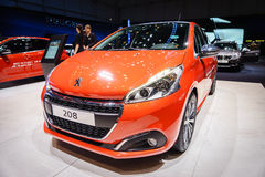 Peugeot 208, Motor Show Geneve 2015. 208 Facelift and tidy-up for Pugs supermini challenger. GTI 30 now a permanent fixture Stock Photos