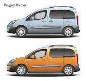 Peugeot partner combi 2015 commercial van. Left view blue and orange isolated Royalty Free Stock Image