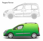 Peugeot partner combi 2015 commercial van. Left view green isolated Royalty Free Stock Photography