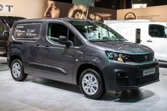 Peugeot Partner commercial vehicle. BRUSSELS - JAN 18, 2019: Peugeot Partner commercial vehicle showcased at the 97th Brussels Motor Show 2019 Autosalon stock photography