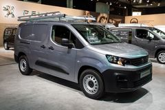 Peugeot Partner commercial vehicle. BRUSSELS - JAN 18, 2019: Peugeot Partner commercial vehicle showcased at the 97th Brussels Motor Show 2019 Autosalon stock images