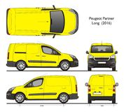Peugeot partner Long 2016 Cargo Professional Van. Isolated draw scale 1:10 in CDR Format stock illustration
