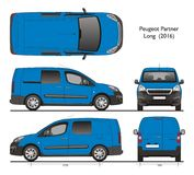 Peugeot partner Long 2016 Combi Professional Van. Isolated draw scale 1:10 in CDR Format royalty free illustration