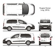 Peugeot partner Long 2016 Professional Van. Isolated draw scale 1:10 in CDR Format stock illustration
