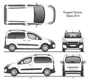 Peugeot partner Tepee 2015 commercial van. Isolated draw in contour scale 1:10 in CDR Format stock illustration