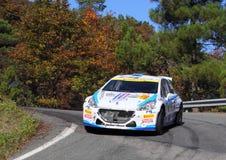 Peugeot 207 pendant la lanterne de rassemblement de 32 ° Photo stock