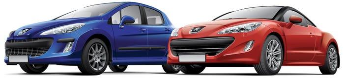 Peugeot 308 and Peugeot RCZ Stock Image