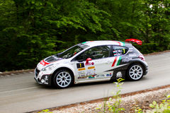 Peugeot 208 R5 on Miskolc Rally Hungary. 2016 Royalty Free Stock Photos