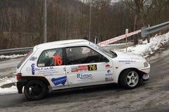 Peugeot 106 racerbil Fotografering för Bildbyråer