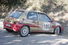 Peugeot 106 rally spun against the mountain Stock Photos