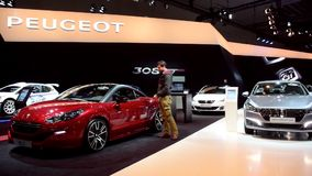 Peugeot RCZ on the Peugeot stand stock video footage