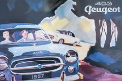 Peugeot 403 retro plakat zdjęcie stock