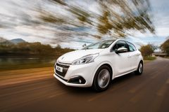 Peugeot 208 on the road royalty free stock photography