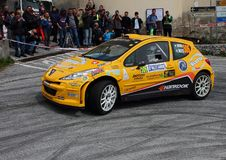 Peugeot 207 samochód wyścigowy podczas rasy Zdjęcia Royalty Free