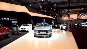 Peugeot stand at the motor show stock video footage
