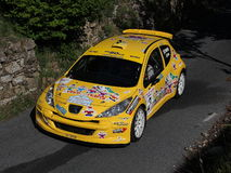 Peugeot 207 super 2000  rally car. During Imperiesi  rally of 2011 Royalty Free Stock Photos