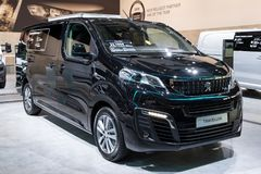Peugeot Traveller commercial vehicle. BRUSSELS - JAN 18, 2019: Peugeot Traveller commercial vehicle showcased at the 97th Brussels Motor Show 2019 Autosalon royalty free stock photo