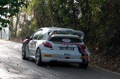 PEUGEOT 206 WRC 1999 w starym bieżnego samochodu wiecu legenda 2017 Zdjęcie Royalty Free