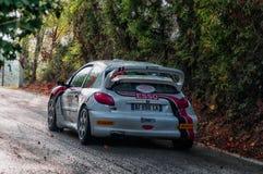 PEUGEOT 206 WRC 1999 w starym bieżnego samochodu wiecu legenda 2017 Obraz Royalty Free