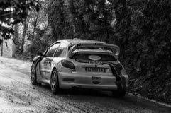 PEUGEOT 206 WRC 1999 w starym bieżnego samochodu wiecu legenda 2017 Fotografia Stock