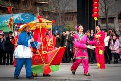 Peuple chinois de coutume folklorique dans la ville de Wuhan, porcelaine image stock