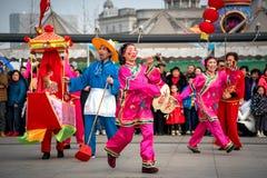 Peuple chinois de coutume folklorique dans la ville de Wuhan, porcelaine photo stock