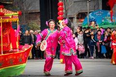 Peuple chinois de coutume folklorique dans la ville de Wuhan, porcelaine photos stock