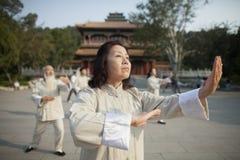 Peuple chinois pratiquant Tai Ji devant le bâtiment de chinois traditionnel Images stock
