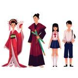 Peuple japonais - geisha et samouraïs, écolière typique, écolier Photographie stock libre de droits