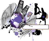 Peuples de danse avec les ailes et le globe. Photographie stock libre de droits