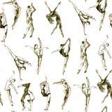 Peuples de danse de sépia Modèle sans couture texturisé d'aquarelle illustration de vecteur