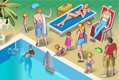 Peuples isométriques de touristes réglés dans les vacances Images libres de droits