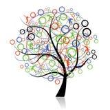 Peuples se connectants, arbre de Web illustration libre de droits