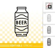 Peut la ligne noire simple icône de bière de vecteur de boissons de bière anglaise illustration libre de droits