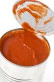 Peut la sauce tomate photographie stock libre de droits