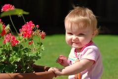 Peuter die dichtbij geraniums in een pot glimlacht Stock Fotografie