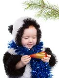 Peuter en feestelijke gift, vóór cristmas stock foto's
