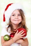 Peuter meisje met de decoratie van Kerstmis royalty-vrije stock foto
