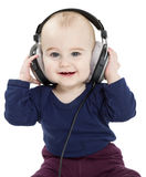 Peuter met oortelefoons royalty-vrije stock fotografie
