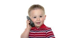 Peuter met telefoon Stock Fotografie