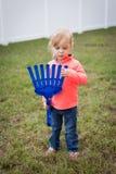 Peuter met Toy Rake Royalty-vrije Stock Foto
