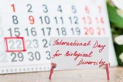 22 peuvent jour international pour la diversité biologique sur le calenda images libres de droits