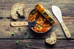 Peuvent les poissons en sauce tomate avec la ciboulette Image stock