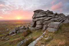 Pew Tor. Sunset from Pew Tor Dartmoor national park Devon Uk Stock Image